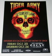 Tiger Army Octoberflame VI Concert Promotional Card 2013 Grove Of Anaheim - $12.99
