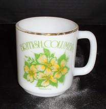 Vintage Federal Milk Glass British Columbia Canada Dogwood Coffee cup mug - $11.57