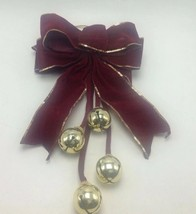 Jingle Bell Doorknob Door Hanger 4 Large Bells Red Bow Christmas Decor H... - $20.31