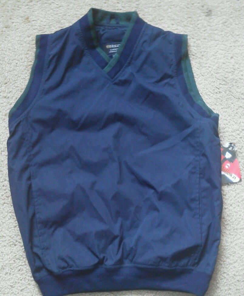 Men vest light jacket by Holloway Lifestyle Collection XS Navy Blue Green Trim - $12.67