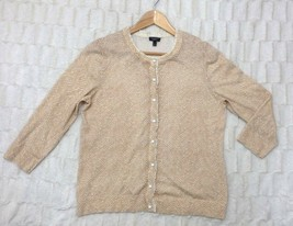 Talbots L Spring Lightweight Cardigan Sweater Ivory Chiffon Trim Cotton Rayon - $11.00