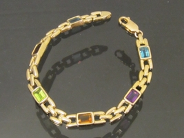 Vintage 14K Solid Yellow Gold 3Ct Mixed Gemstone Link Chain Bracelet 7''... - $655.00