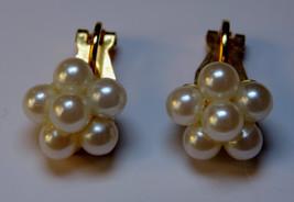 Vintage Pearl Cluster Floral Goldtone Clip-On Earrings - $12.00