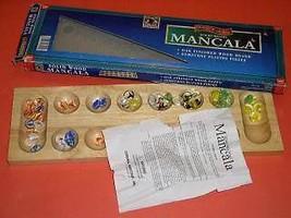 Mancala Game Solid Wood Oak Finished Gemstone Playing Pieces - $19.98