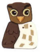 "Small Owl 1187s handmade clay button .31"" Just Another Button Co - $2.50"