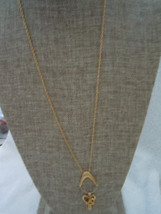 Trifari Gold Tone Charm Holder Necklace with Heart and Cross Charm  - $25.99