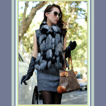 Long Silver Hair Fox Faux Fur Patchwork On Black Faux Leather Vest Coat Jacket