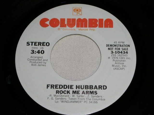 Primary image for FREDDIE HUBBARD ROCK ME ARMS  PROMOTIONAL JAZZ 45 RPM RECORD 1976