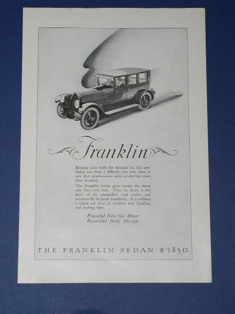 Primary image for FRANKLIN SEDAN VINTAGE 1923 NATIONAL GEOGRAPHIC AD