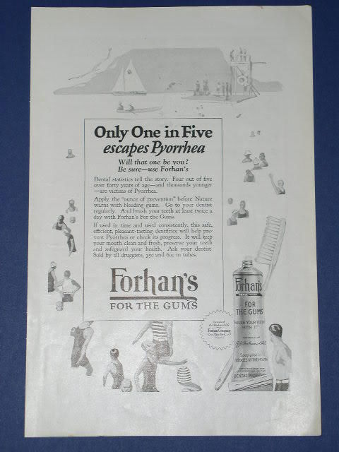 Primary image for FORHAN'S TOOTHPASTE VINTAGE 1924 NATIONAL GEOGRAPHIC AD