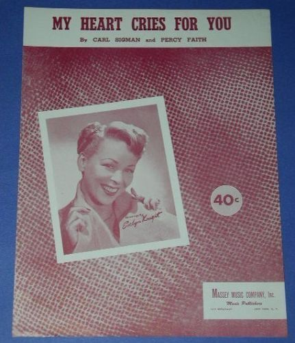 Primary image for EVELYN KNIGHT VINTAGE SHEET MUSIC 1950 MY HEART CRIES