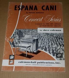 Primary image for Espana Cani Sheet Music Vintage 1959 Organ