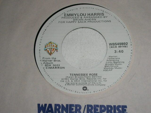 Primary image for EMMYLOU HARRIS TENNESSEE ROSE 45 RPM RECORD VINTAGE 1981