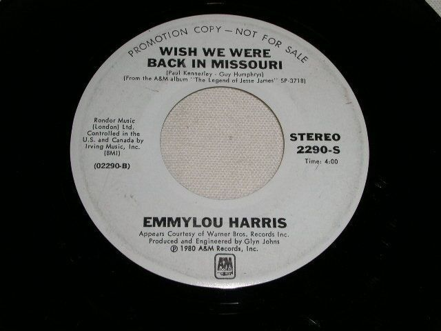 Primary image for EMMYLOU HARRIS CHARLIE DANIELS WISH WE WERE BACK IN MISSOURI PROMO 45 RPM 1980