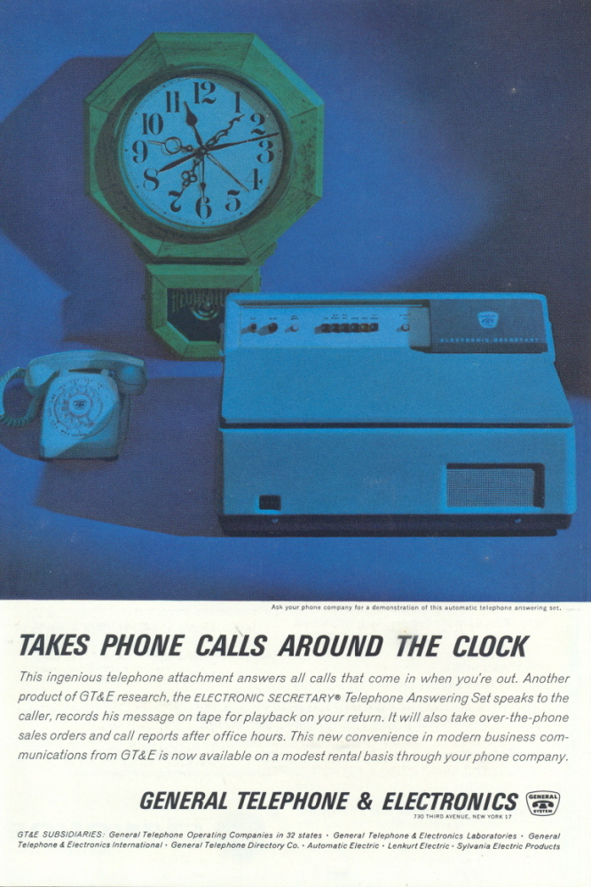 1963 GT&E Automatic Telephone Answering Set print ad