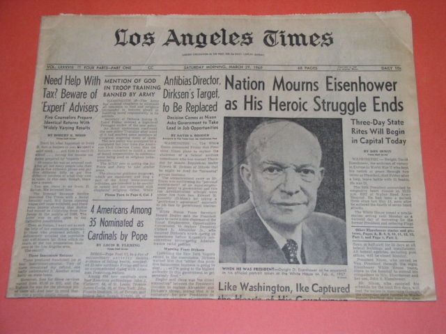 Primary image for Eisenhower Death Tragedy Newspaper Vintage 1969 March 28