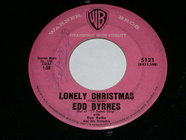 Primary image for Edd Byrnes Lonely Christmas 45 Rpm Record Warner Bros Label