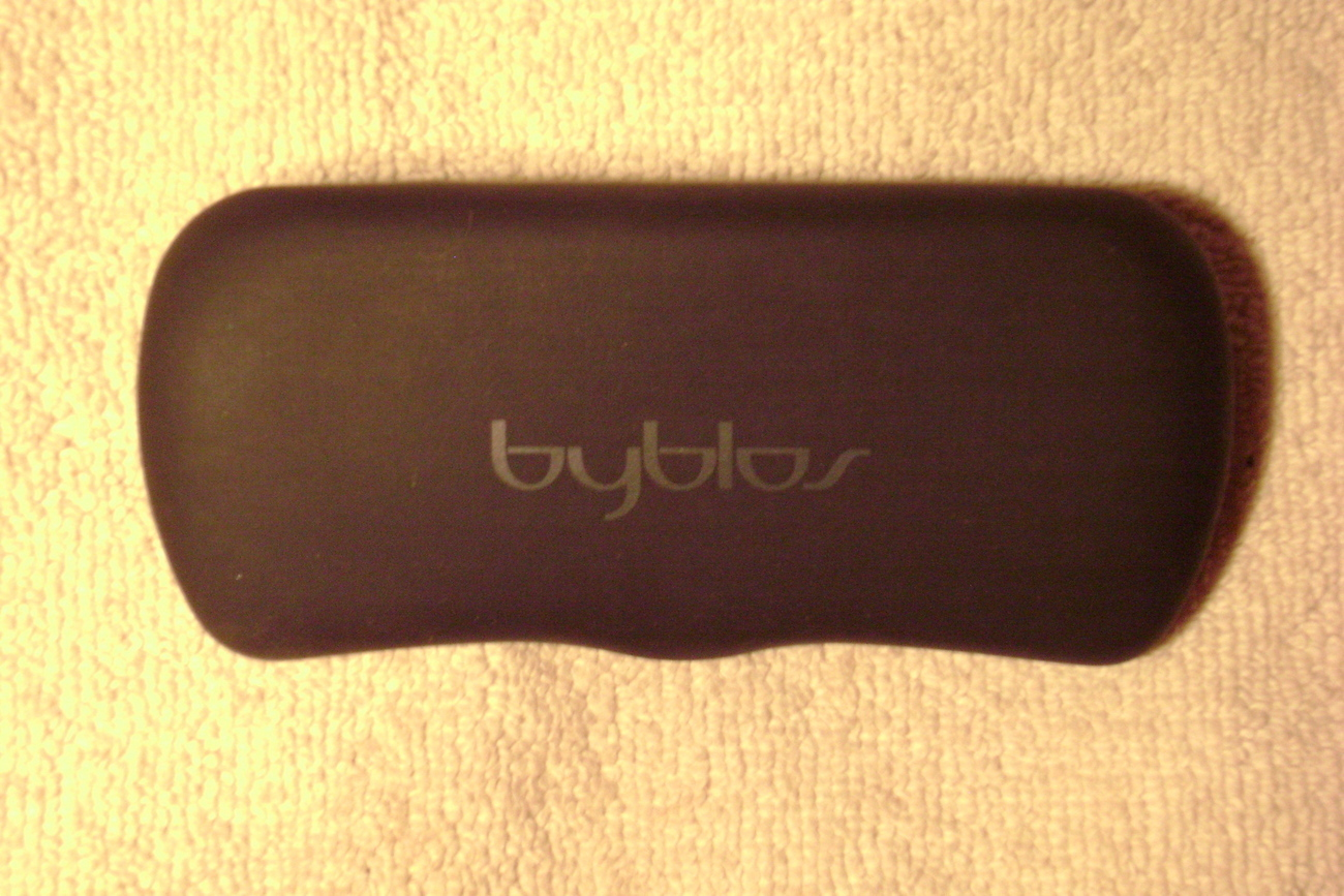 """byblos"" black eyeglass case with logo"