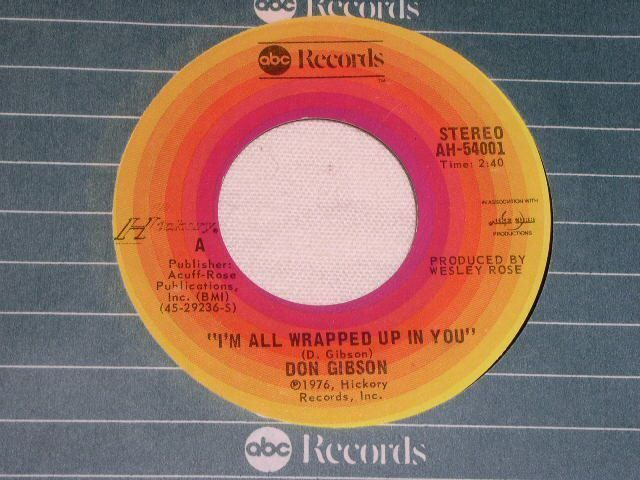 Primary image for DON GIBSON I'M ALL WRAPPED UP IN YOU 45 RPM RECORD VINTAGE 1976