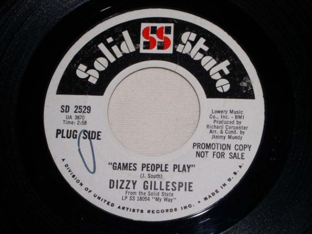 Primary image for DIZZIE GILLESPIE GAMES PEOPLE PLAY VINTAGE PROMO JAZZ 45 RPM RECORD
