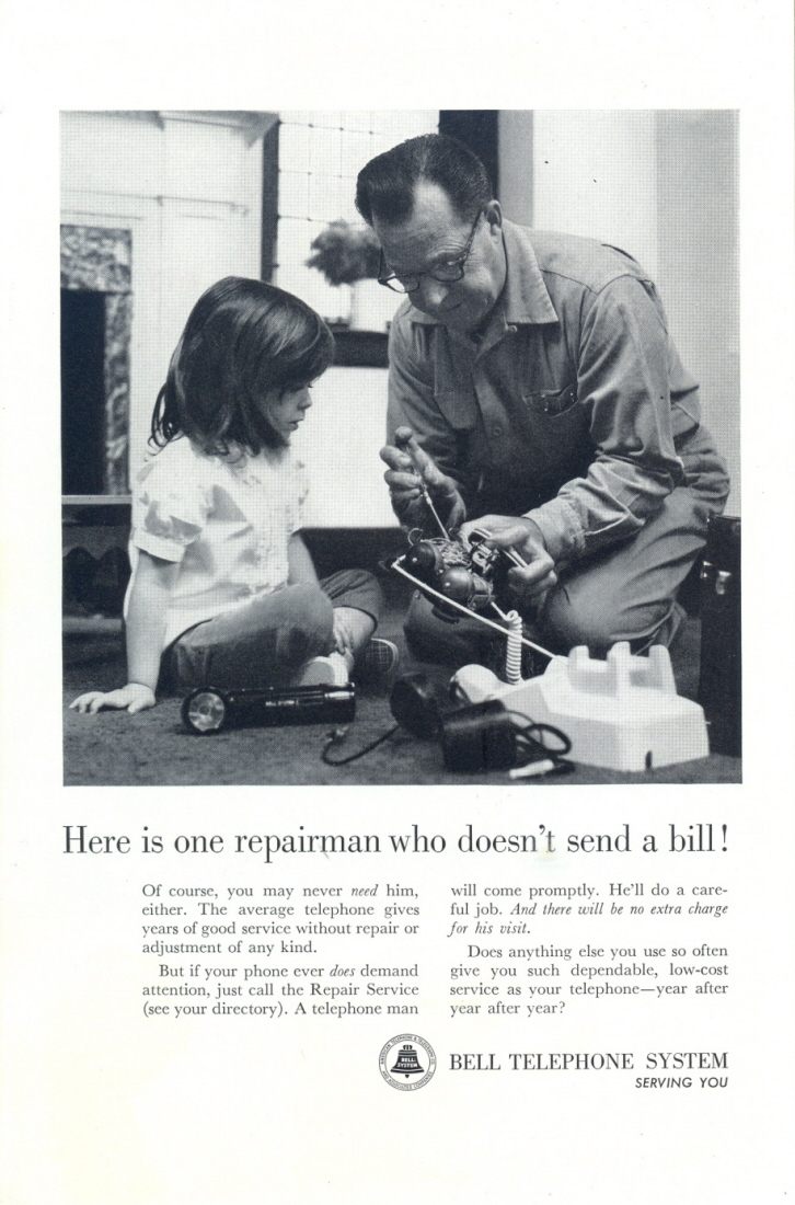 1963 Bell Telephone girl watching grandpa servicing phone pr
