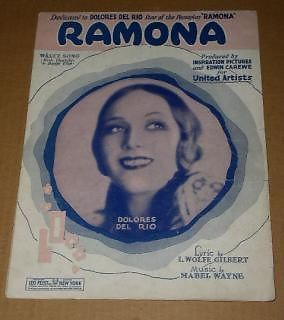 Primary image for Delores Del Rio Ramona Sheet Music Vintage 1927