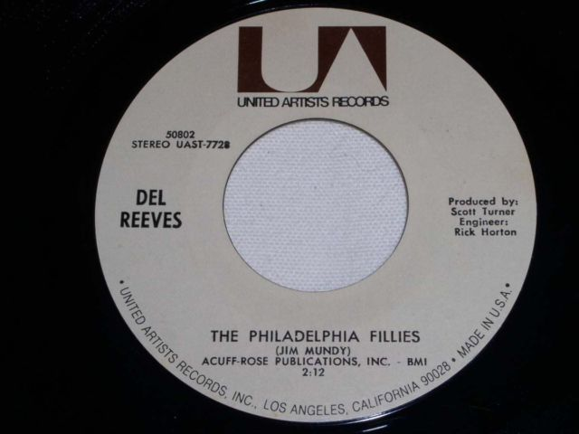 Primary image for DEL REEVES PHILADELPHIA FILLIES 45 RPM RECORD VINTAGE