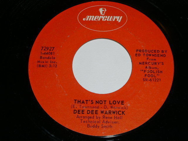 Primary image for Dee Dee Warwick That's Not Love 45 Rpm Record Mercury Label