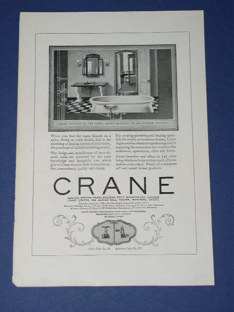 Primary image for CRANE PLUMBING VINTAGE 1924 NATIONAL GEOGRAPHIC AD