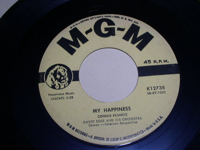 Primary image for CONNIE FRANCIS MY HAPPINESS 45 RPM PHONOGRAPH RECORD MGM