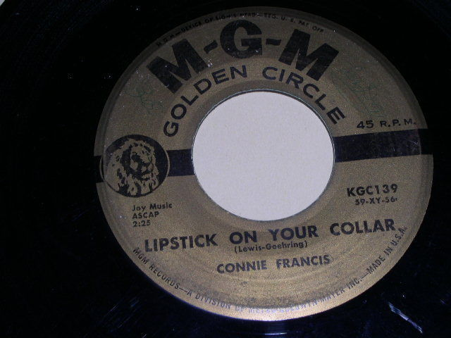 Primary image for CONNIE FRANCIS LIPSTICK ON YOUR COLLAR 45 RPM PHONOGRAPH RECORD MGM