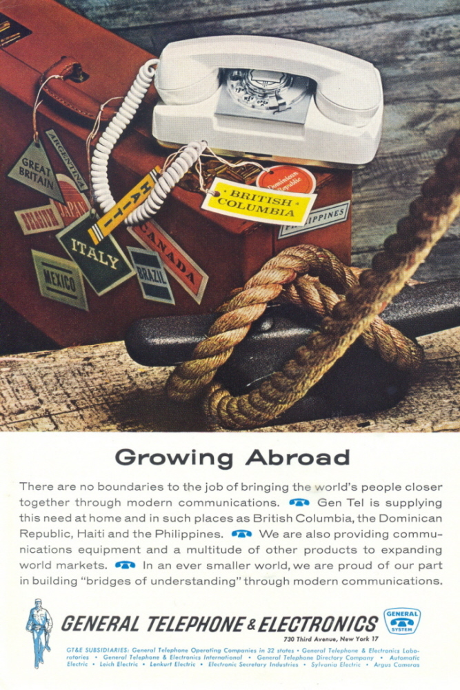 1967 General Telephone Co. Growing Abroad Business ad