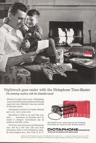 1957 Dictaphone Time-master Dictabelt Record print ad