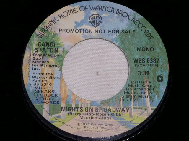 Primary image for CANDI STATON NIGHTS ON BROIADWAY PROMO DISCO 45 RPM RECORD 1977