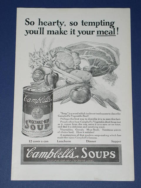Primary image for CAMPBELL'S SOUP VINTAGE 1924 NATIONAL GEOGRAPHIC AD