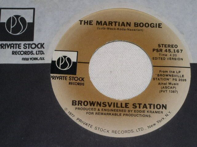 Primary image for BROWNSVILLE STATION MARTIAN BOOGIE 45 RPM RECORD VINTAGE 1977