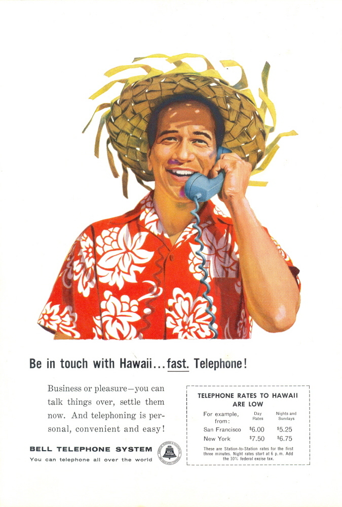1960 Bell Telephone guy with Hawaii Shirt / Grass Hat print