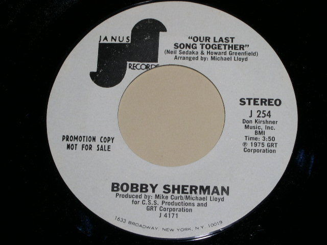 Primary image for BOBBY SHERMAN OUR LAST SONG TOGETHER PROMOTIONAL 45 RPM PHONOGRAPH RECORD 1976