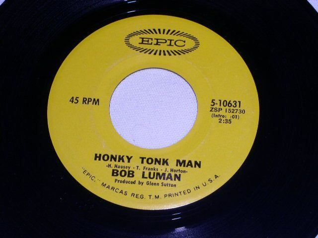 Primary image for BOB LUMAN VINTAGE HONKY TONK MAN 45 RPM RECORD