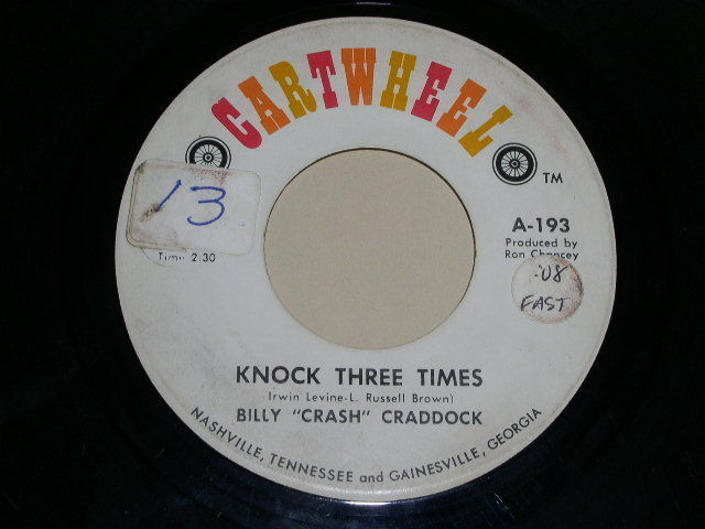 Primary image for BILLY CRASH CRADDOCK KNOCK THREE TIMES 45 RPM PHONO RECORD