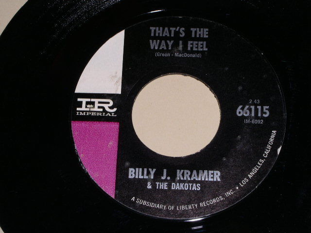 Primary image for BILLY J. KRAMER THAT'S THE WAY I FEEL VINTAGE 45 RPM PHONOGRAPH RECORD
