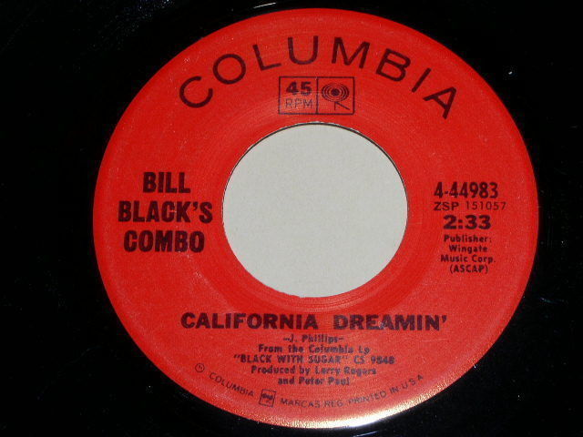 Primary image for BILL BLACK'S COMBO CALIFORNIA DREAMIN VINTAGE 45 RPM PHONOGRAPH RECORD