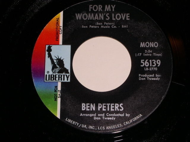 Primary image for Ben Peters For My Woman's Love Promotional 45 Rpm