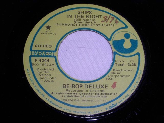 Primary image for BE BOP DELUXE SHIPS IN THE NIGHT PROMOTIONAL ROCK 45 RPM RECORD, RARE