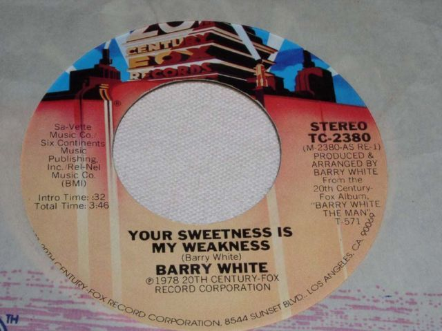 Primary image for BARRY WHITE YOUR SWEETNESS PROMO SOUL 45 RPM RECORD VINTAGE