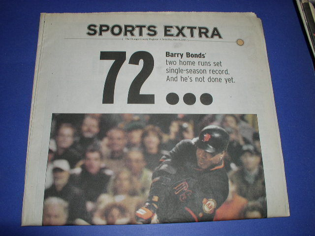 Primary image for BARRY BONDS SPORTS PAGE OC REGISTER 10-6-2001