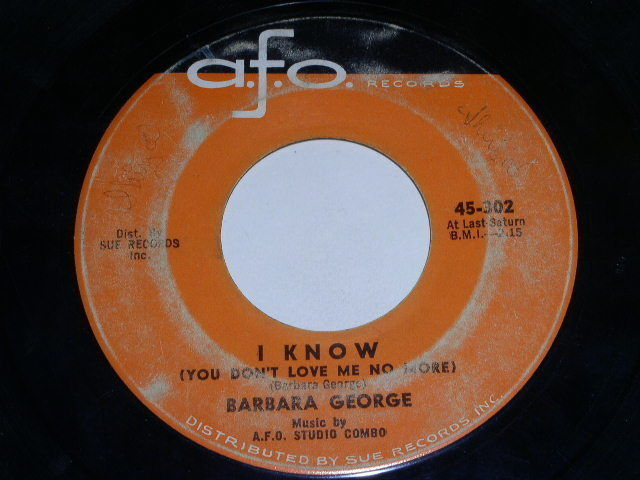 Primary image for Barbara George I Know 45 Rpm Record Vintage AFO Label