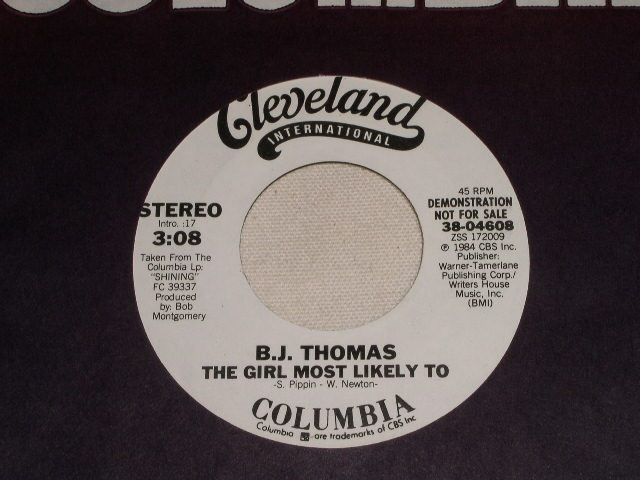 Primary image for B. J. THOMAS GIRL MOST LIKELY TO PROMOTIONAL 45 RPM RECORD VINTAGE 1984