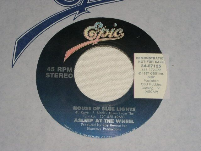 Primary image for ASLEEP AT THE WHEEL HOUSE OF BLUE LIGHTS VINTAGE PROMOTIONAL 45 RPM RECORD