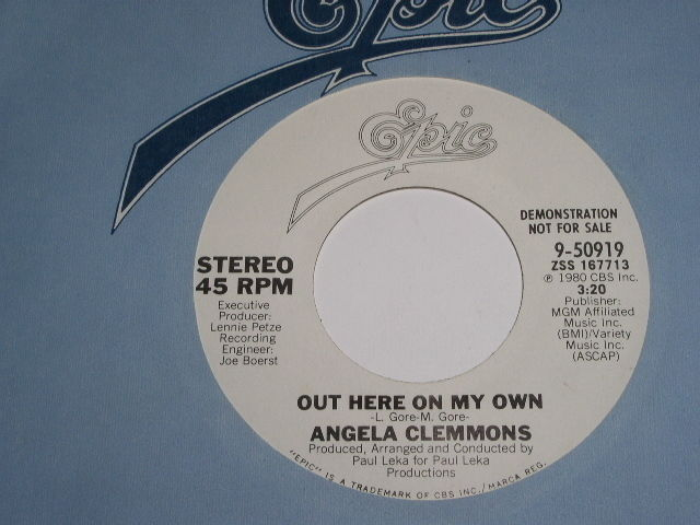 Primary image for Angela Clemmons Out Here On My Own Soul 45 Rpm Record Promotional